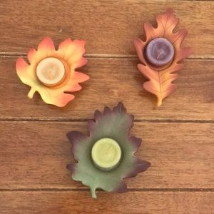 🍁 Fall Tea Light Candles & Holders 🍁 Set of 3